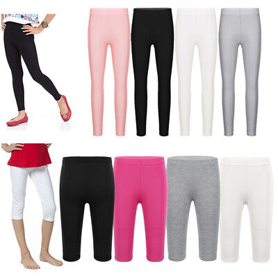 Children Girls Plain Modal Full Length Leggings Stretch Kids Party Cropped Pants
