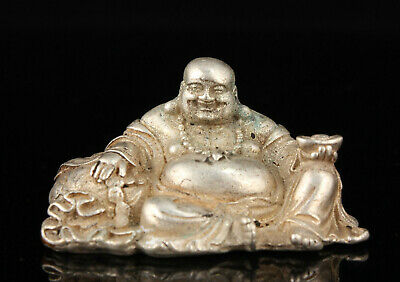China Old Collectible Hand-carved White Copper Mini Maitreya Statue KeyRing