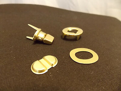 Solid Brass Replacement  4 PC Turnlock Set For Many Vintage Bags and Briefs New