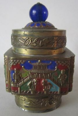 Vintage CHINA Square BRASS Enameled Champleve Temple BOX Cloisonne
