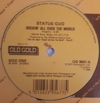 "Status Quo - ""Rockin' All Over The World / Paper Plane"" - Og9567 - *Vg+*"