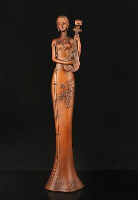 Rare China Hand-carved Boxwood Chinese beauty Statue Home Decoration
