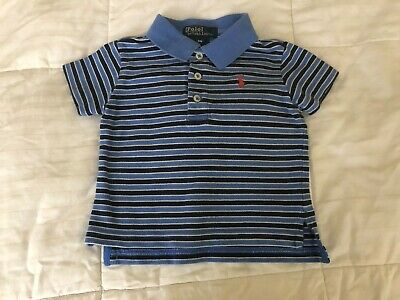Polo by Ralph Lauren baby boy shirt 9 months old stripes blue color S17A