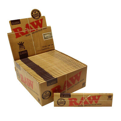 50 RAW Classic King Size Slim Papers Full Box Natural Rolling Unrefined