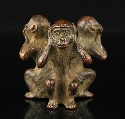 China Hand-carved Pure Red Copper Statue Three Monkeys Desktop Ornament