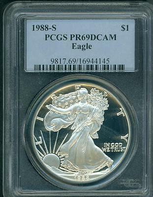 1988-S American Silver Eagle ASE S$1 PCGS PF69 PR69 PROOF DCAM (Deep CAMEO) PQ