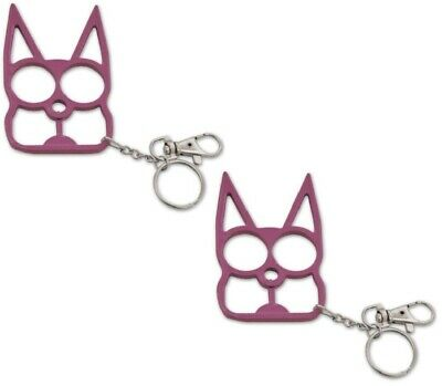 TWO! Pink Metal Cat Self Safety Security Key Chain Ring Kubaton Keychain Pointed