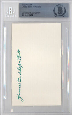 """James """"Cool Papa"""" Bell Autographed Signed 3x5 Index Card Beckett BAS #10212959"""