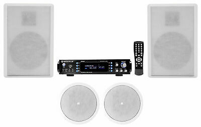 HOME THEATER RECEIVER w/ Bluetooth+(2) JBL Ceiling+(2) Rockville Wall  Speakers