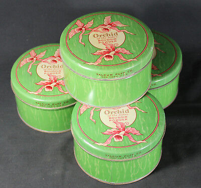 Antique Talcum Puff Co. Orchid of the Indies Boudoir Powder Puff Big Metal Tin