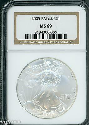 2005 American Silver Eagle ASE S$1 NGC MS69 MS-69 PQ+ BEAUTIFUL