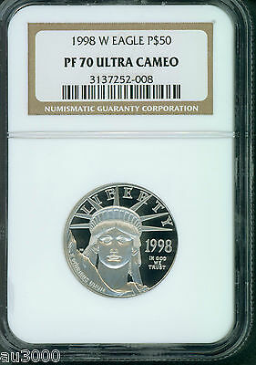 1998-W $50 PLATINUM EAGLE 1/2 Oz. STATUE OF LIBERTY NGC PF70 PROOF PR70