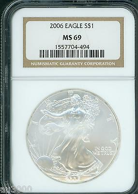2006 American Silver Eagle ASE S$1 NGC MS69 MS-69 PQ+ BEAUTIFUL