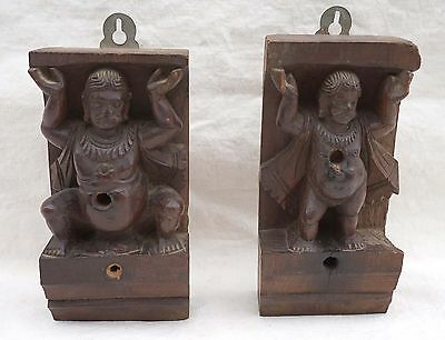 Bali Java Indonesia Wood Carved Paire Figural Element 19th C