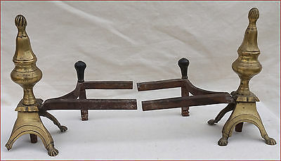 Antique French Barocco Firedogs Andirons Pair Brass Lamp Base 17th C