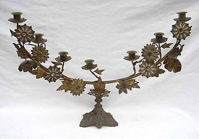 """Large 25"""" Revival Gothic Church Chandelier Gilt Brass Flower Colored Stone Glass"""
