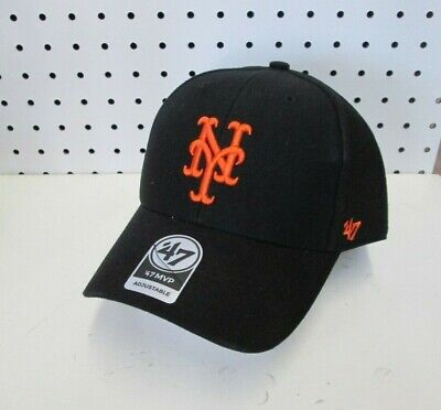 wholesale dealer 01346 15682 New MLB New York Mets Adult Black Embroidered Adjustable MVP Cap OSFA 47  Brand