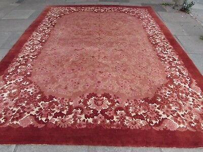 Old Hand Made Art Traditional Deco Chinese Oriental Red Pink Wool Carpet 366x277