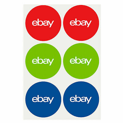 """200 pcs of 3-Color, Round eBay-Branded Sticker  stickers  labels  3"""" x 3"""" new"""