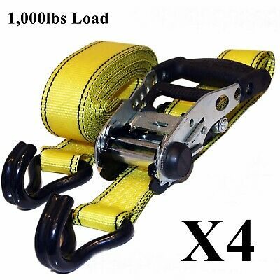 4 x Cargoloc Heavy Duty Rachet Strap - 1000lbs Load, Tie Downs Ratchet Lashing