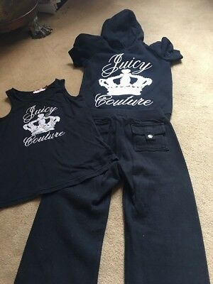 juicy couture tracksuit With Vest Age 6 Black And Silver