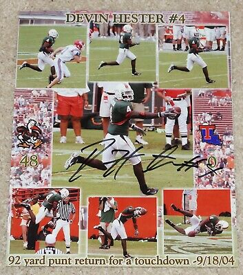 0fac7c05122 DEVIN HESTER Signed MIAMI HURRICANES 8x10 photo - 2004 Punt Return for TD