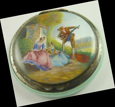 Guilloche Enamel Compact Sterling Silver Vintage Scenic PERFECT