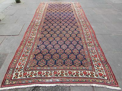 Antique Traditional Hand Made Persian Oriental Wool Blue Long Carpet 374x178cm