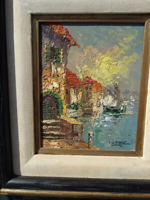 Fabulous P.g.tiele Original Oil On Canvas European Harbor Scene Painting 8 X 10""