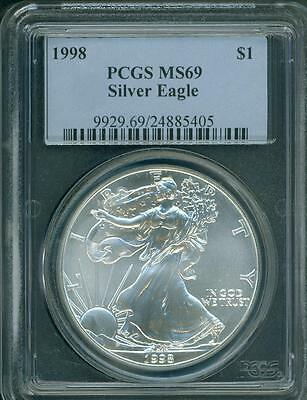 1998 American Silver Eagle ASE S$1 PCGS MS69 MS-69 BEAUTIFUL !