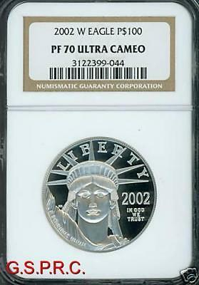2002-W $100 PLATINUM EAGLE STATUE of LIBERTY 1 Oz. NGC PF70 PROOF PR70 CAMEO !