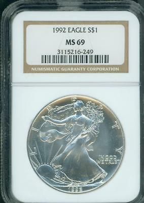 1992 American Silver Eagle ASE S$1 NGC MS69 MS-69 PQ+ BEAUTIFUL