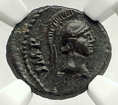 DOMITIAN Authentic Ancient 81AD Rome QUDRANS Roman Coin w MINERVA NGC i76855