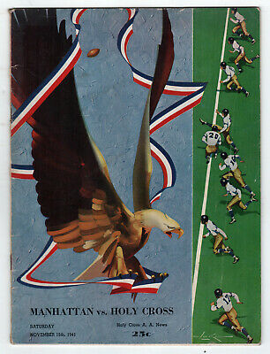 1941 MANHATTAN University HOLY CROSS College Football Program NCAA Worcester