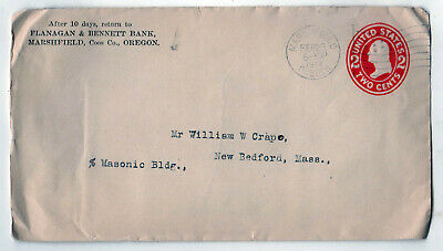 1912 MARSHFIELD OREGON Coos Bay County BANK New Bedford Whaling Museum CRAPO
