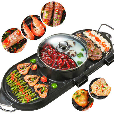 CMTM BBQ Grill Plate Double Separate Stone Pan With Hot Pot Integrated Non Stick