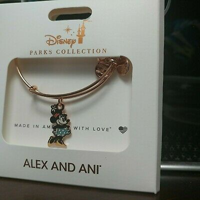Disney Parks Alex And Ani Minnie Mouse Silhouette Rose Gold Charm Bracelet NEW
