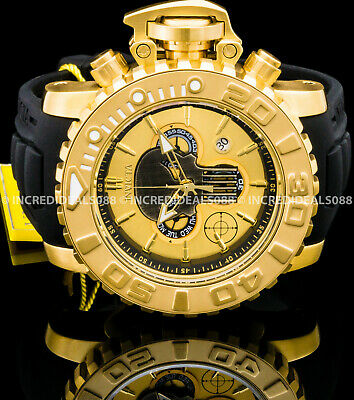 Invicta Men Marvel PUNISHER Sea Hunter Swiss Chrono 18Kt Gold Black Ltd Ed Watch