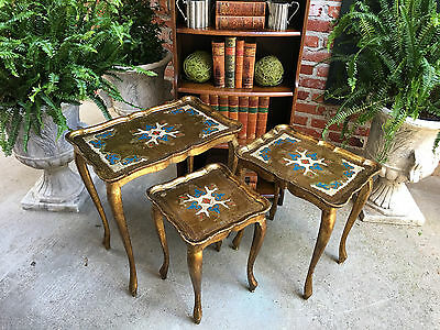 SET 3 Vintage Italian Florentine Gold Wood Nesting Coffee Table Regency Tole