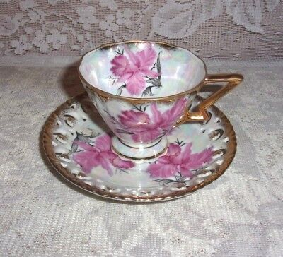 Royal Sealy China Reticulated Pink Daffodil Iridized Cup and Saucer Set