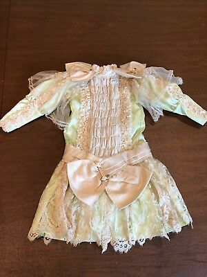 Vtg Victorian Green Satin Ruched Ribbon Lace Satin Ribbon Doll Dress Big Bow 18""