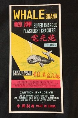 Vintage Chinese firecracker label WHALE BRAND (50); no cracker!!!  fcp232