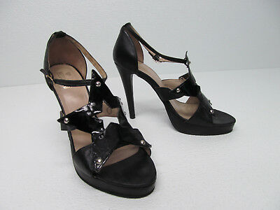 44c5fab3dc100 LOVE MOSCHINO ANKLE STRAP BLACK LEATHER HEELS size WOMENS 8.5/39