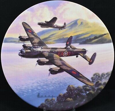 Royal Worcester Dambusters Plane Plate Low Over The Lake
