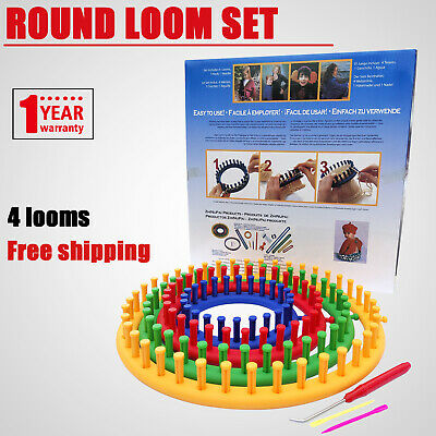 Round Loom Set Plastic Knitting Looms with Hook Needle Weaving Circle Knit Tools