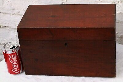 Old Large Wooden Stained Pine Instrument Workbox Work Box Case Etc