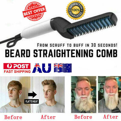 Men Beard Straightening Comb Electric Beard Hair Comb Curling Brush Styler CO