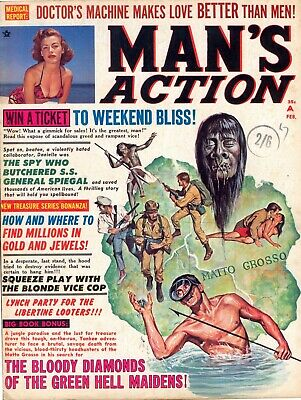 MAN'S ACTION - USA Pulp Magazine, February 1967. Free UK Postage