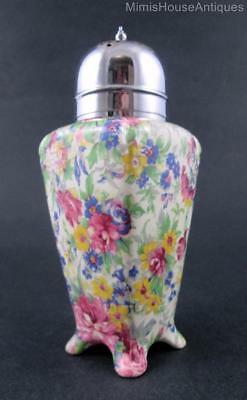 """SPRINGTIME"" footed SUGAR SHAKER muffineer sifter - vintage English chintz"