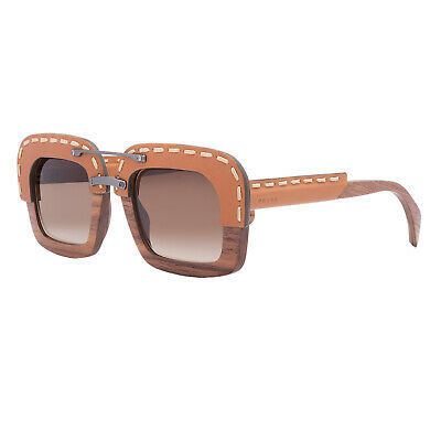 b5931c7dcc8c Prada PR 26RS Womens Sunglasses UA76S1 Brown Nut Canaletto Wood   Leather  Frame